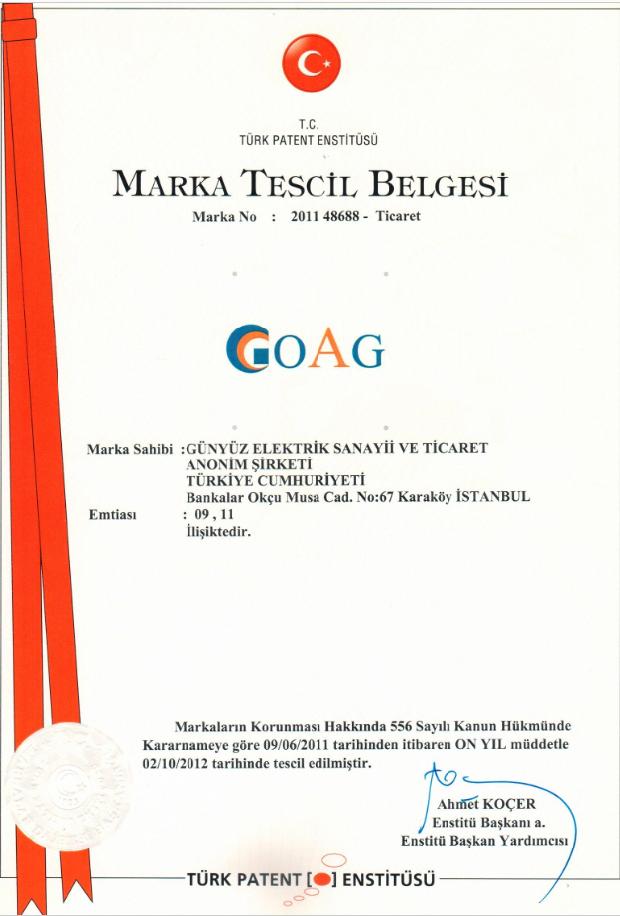 OAG Marka Tescil Belgesi
